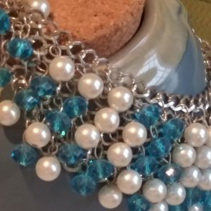"""16"""" Aquamarine and Faux Pearl Necklace"""